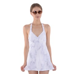 Marble Texture White Pattern Halter Dress Swimsuit