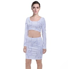 Marble Texture White Pattern Long Sleeve Crop Top & Bodycon Skirt Set
