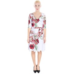 Flowers Poppies Poppy Vintage Wrap Up Cocktail Dress