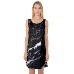 Black Texture Background Stone Sleeveless Satin Nightdress by Celenk