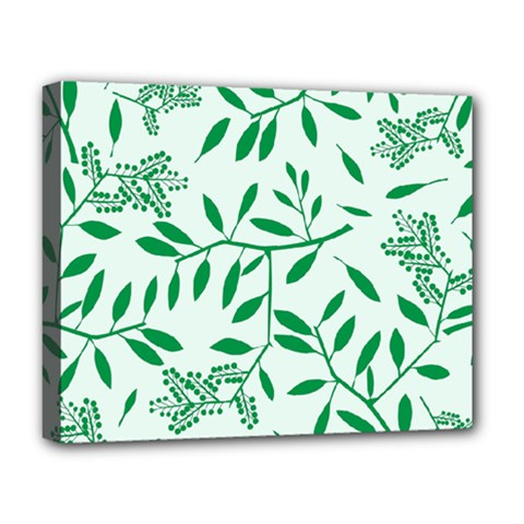 Leaves Foliage Green Wallpaper Deluxe Canvas 20  X 16   by Celenk