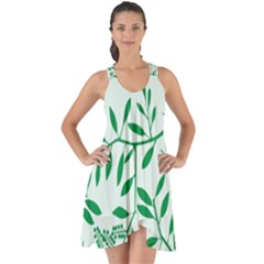 Leaves Foliage Green Wallpaper Show Some Back Chiffon Dress by Celenk