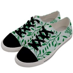 Leaves Foliage Green Wallpaper Men s Low Top Canvas Sneakers by Celenk