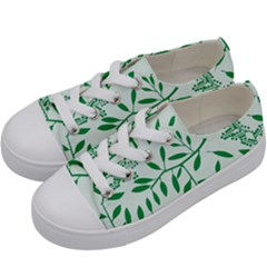 Leaves Foliage Green Wallpaper Kids  Low Top Canvas Sneakers by Celenk