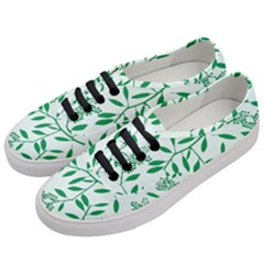 Leaves Foliage Green Wallpaper Women s Classic Low Top Sneakers by Celenk