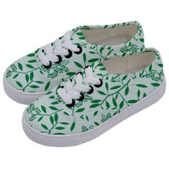 Leaves Foliage Green Wallpaper Kids  Classic Low Top Sneakers by Celenk