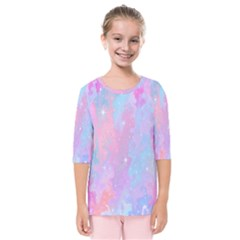Space Psychedelic Colorful Color Kids  Quarter Sleeve Raglan Tee by Celenk