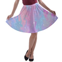 Space Psychedelic Colorful Color A Line Skater Skirt