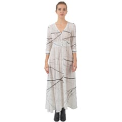 White Background Pattern Tile Button Up Boho Maxi Dress