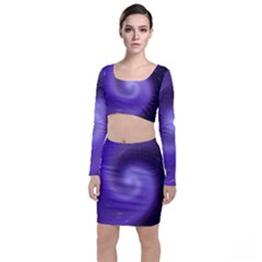 Spiral Lighting Color Nuances Long Sleeve Crop Top & Bodycon Skirt Set by Celenk