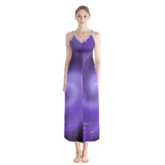 Spiral Lighting Color Nuances Button Up Chiffon Maxi Dress