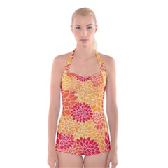 Abstract Art Background Colorful Boyleg Halter Swimsuit