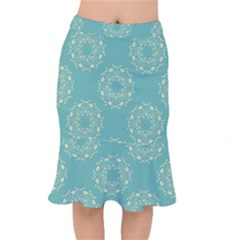 Floral Vintage Royal Frame Pattern Mermaid Skirt