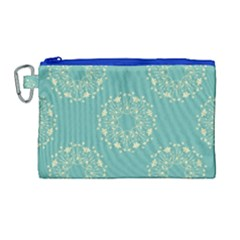 Floral Vintage Royal Frame Pattern Canvas Cosmetic Bag (large) by Celenk