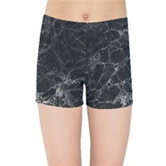 Black Texture Background Stone Kids Sports Shorts