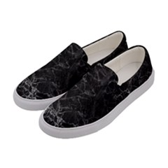 Black Texture Background Stone Women s Canvas Slip Ons by Celenk