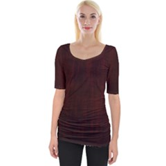 Grunge Brown Abstract Texture Wide Neckline Tee by Celenk