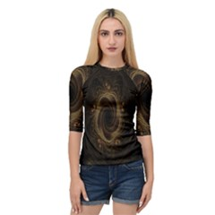 Beads Fractal Abstract Pattern Quarter Sleeve Raglan Tee by Celenk