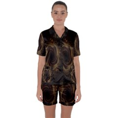 Beads Fractal Abstract Pattern Satin Short Sleeve Pyjamas Set