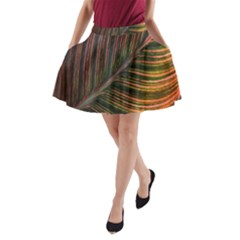 Leaf Colorful Nature Orange Season A-line Pocket Skirt
