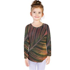 Leaf Colorful Nature Orange Season Kids  Long Sleeve Tee