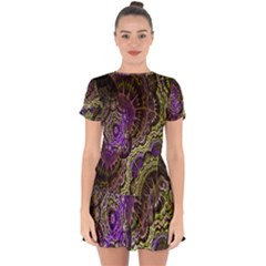 Abstract Fractal Art Design Drop Hem Mini Chiffon Dress