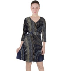Fractal Spikes Gears Abstract Ruffle Dress