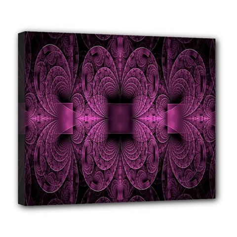 Fractal Magenta Pattern Geometry Deluxe Canvas 24  X 20   by Celenk