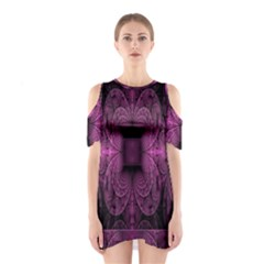 Fractal Magenta Pattern Geometry Shoulder Cutout One Piece