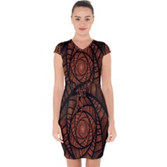 Fractal Red Brown Glass Fantasy Capsleeve Drawstring Dress