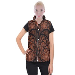 Fractal Red Brown Glass Fantasy Women s Button Up Puffer Vest