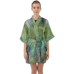 Frosted Glass Background Psychedelic Quarter Sleeve Kimono Robe