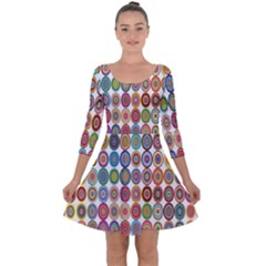 Decorative Ornamental Concentric Quarter Sleeve Skater Dress