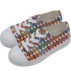 Decorative Ornamental Concentric Kids  Low Top Canvas Sneakers by Celenk