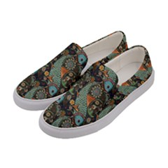 Pattern Background Fish Wallpaper Women s Canvas Slip Ons by Celenk