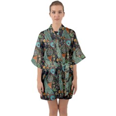 Pattern Background Fish Wallpaper Quarter Sleeve Kimono Robe by Celenk