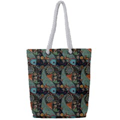 Pattern Background Fish Wallpaper Full Print Rope Handle Bag (small) by Celenk