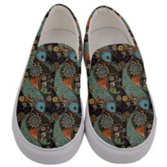Pattern Background Fish Wallpaper Men s Canvas Slip Ons