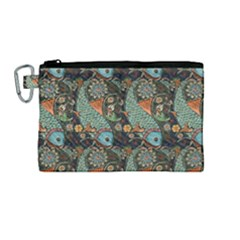Pattern Background Fish Wallpaper Canvas Cosmetic Bag (medium) by Celenk