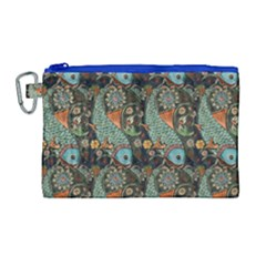Pattern Background Fish Wallpaper Canvas Cosmetic Bag (large) by Celenk