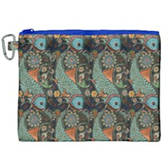 Pattern Background Fish Wallpaper Canvas Cosmetic Bag (xxl)