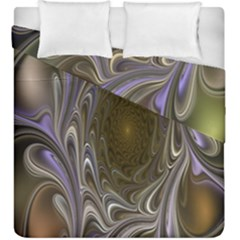Fractal Waves Whirls Modern Duvet Cover Double Side (king Size) by Celenk