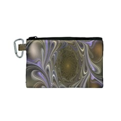 Fractal Waves Whirls Modern Canvas Cosmetic Bag (small) by Celenk