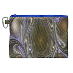 Fractal Waves Whirls Modern Canvas Cosmetic Bag (xl) by Celenk
