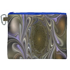 Fractal Waves Whirls Modern Canvas Cosmetic Bag (xxl) by Celenk