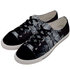 Fractal Blue Lace Texture Pattern Men s Low Top Canvas Sneakers by Celenk