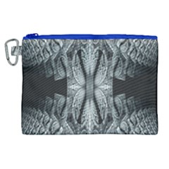 Fractal Blue Lace Texture Pattern Canvas Cosmetic Bag (xl) by Celenk