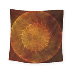 Orange Warm Hues Fractal Chaos Square Tapestry (small) by Celenk