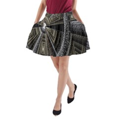 Fractal Circle Circular Geometry A Line Pocket Skirt by Celenk