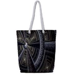 Fractal Circle Circular Geometry Full Print Rope Handle Bag (small) by Celenk